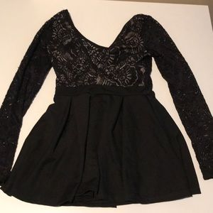 Love Culture Black lace long sleeve romper size S
